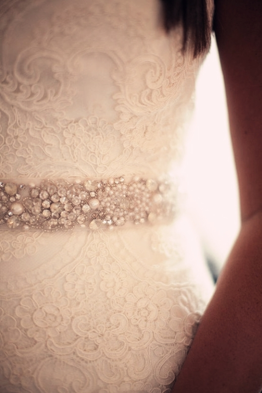 Wedding gown with lace