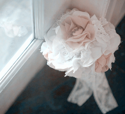 lace pink wedding bouquet