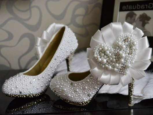 white wedding stiletto heels with full pearls